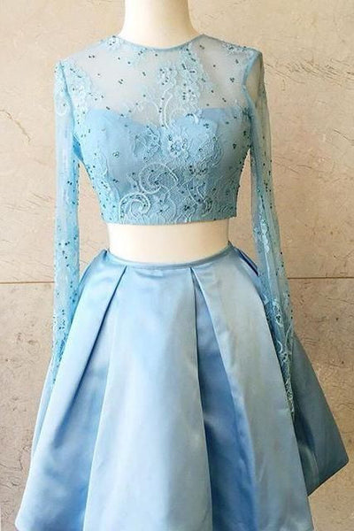 Two Pieces Long Sleeve Baby Blue Beads A Line Homecoming Dress