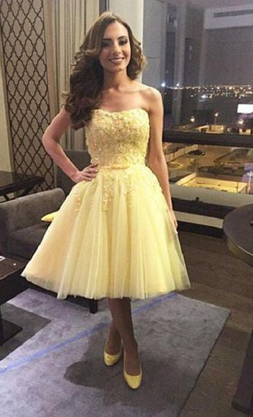 Tulle Strapless Applique Yellow Sweetheart Homecoming Dress