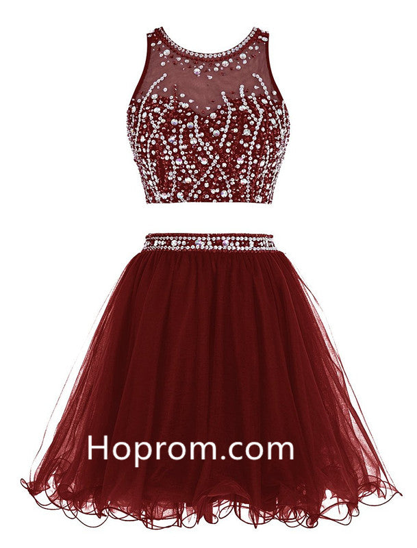Two Pieces Sexy Homecoming Dress, Burgundy Chiffon Homecoming Dresses