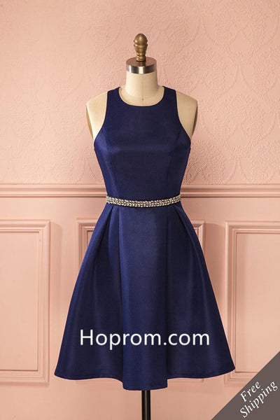 Beadings Stapless Homecoming Dress, Navy Blue Sexy Homecoming Dresses