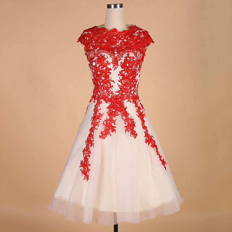 Short Sleeve Scoop Neck Homecoming Dress, Red Applique Chiffon Homecoming Dress