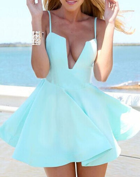 Deep V Neck Homecoming Dress, Mint Strapless Short Summer Homecoming Dress