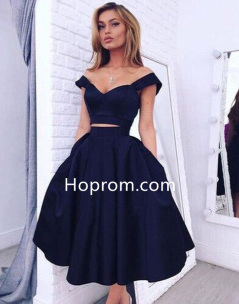 Black Two-Piece Tiered Cheap Irregular Homecoming Dresses