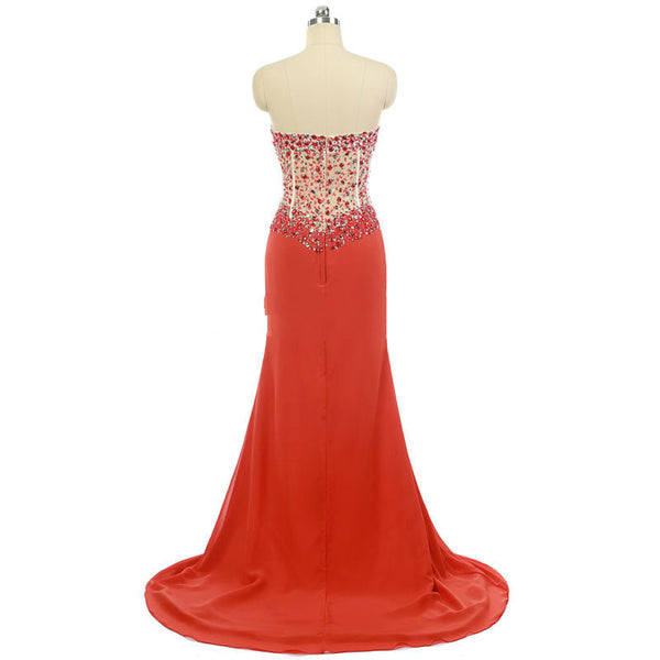 Sweetheart Mermaid Prom Dresses,Ombre Chiffon Prom Dress,Beaded Red Evening Dress