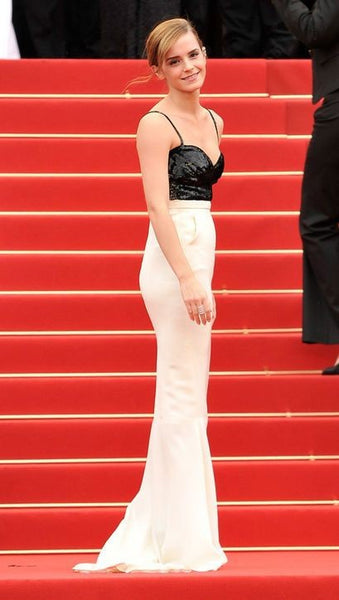 Black White Emma Watson Backless Backless Straps Dress Sequin Prom Red Carpet Formal Dress Cannes Film Festival