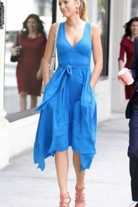 Blue Blake Lively  V Neck Dress Casual Prom Celebrity Evening Dress Serena van der Woodsen Gossip Girl
