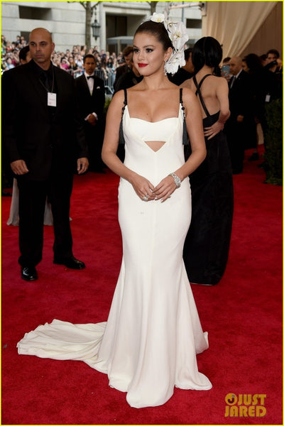 White Selena Gomez Sexy Open Back Straps Dress Long Prom Red Carpet Formal Dress Met Gala