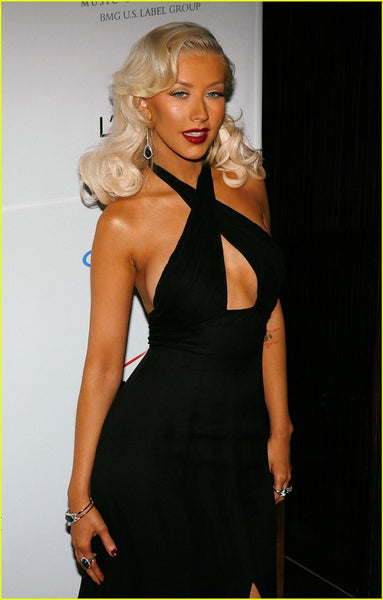 Black Christina Aguilera Criss Cross Halter Neckline Backless Dress Keyhole Prom Red Carpet Evening Dress Clive Davis Pre-Grammy