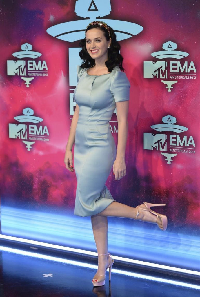 Blue Katy Perry Cap sleeve Pencil Dress Satin Prom Celebrity Evening Dress MTV EMA's
