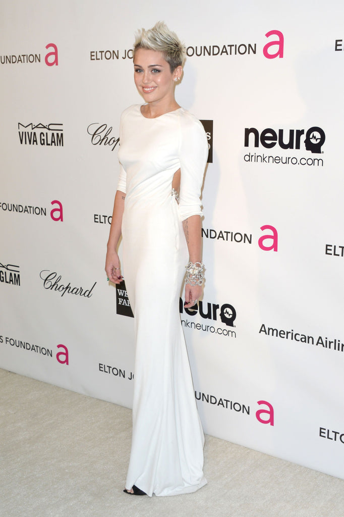 White Miley Cyrus Long Sleeve Open Back Body-hugging Dress Prom Celebrity Formal Dress Elton John AIDS Foundation Oscar Party