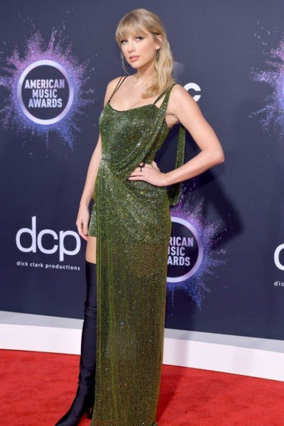 Green Taylor Swift Asymmetrical Straps Sparkly Dress Sequin Prom Red Carpet Celebrity Evening Dress AMA