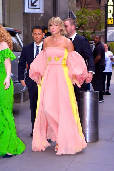 Pink Yellow Taylor Swift Off The Shoulder Prom Best Dress Red Carpet Formal Dress Time 100 Gala