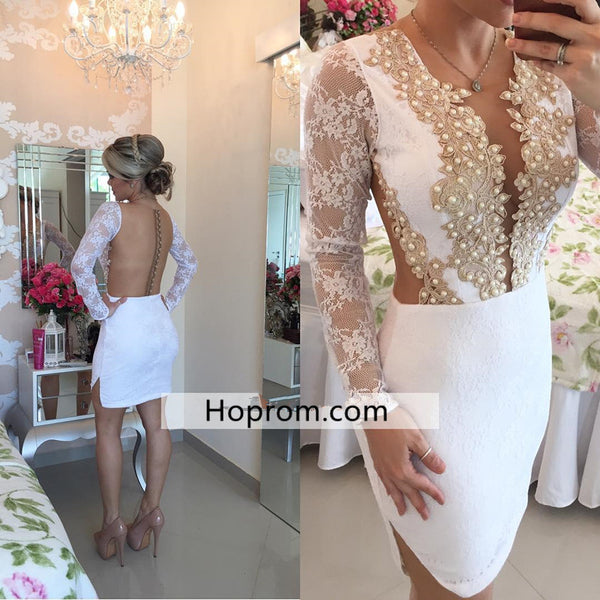White Backless Long Sleeves Homecoming Dress, Lace Beadings Homecoming Dress