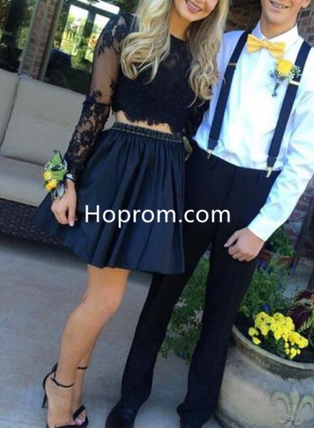 Black Lace Two Piece Homecoming Dress with Beads