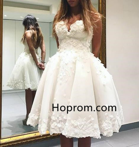 Applique Homehoming Dress, White Sweetheart Backless Homehoming Dress