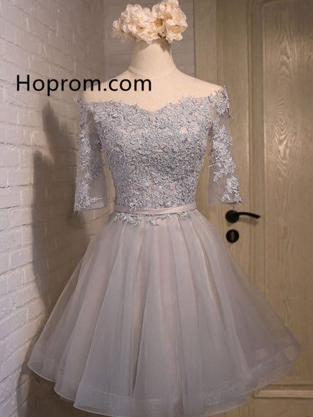 Short Prom Appique Homecoming Dress, Off Shoulder Dresses