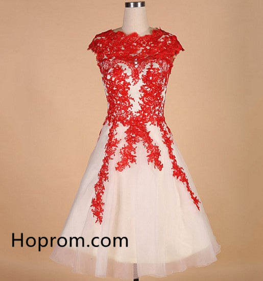 A-line Appliques Red Hot Tulle Homecoming Dress