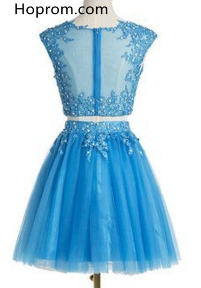 Two Pieces Light Blue Tull Homecoming Dress with Beading Appliques