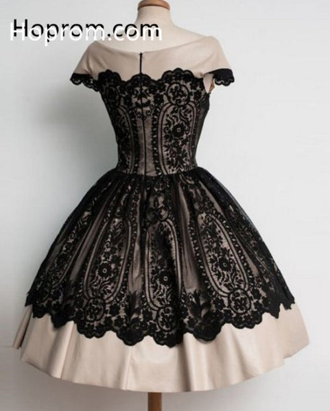 Elegant Black Lace Cap Sleeve Homecoming Dress