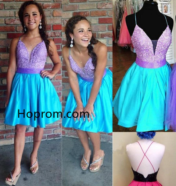 A-line Cute Beading Homecoming Dress, Bright Color Sweet 16 Dresses