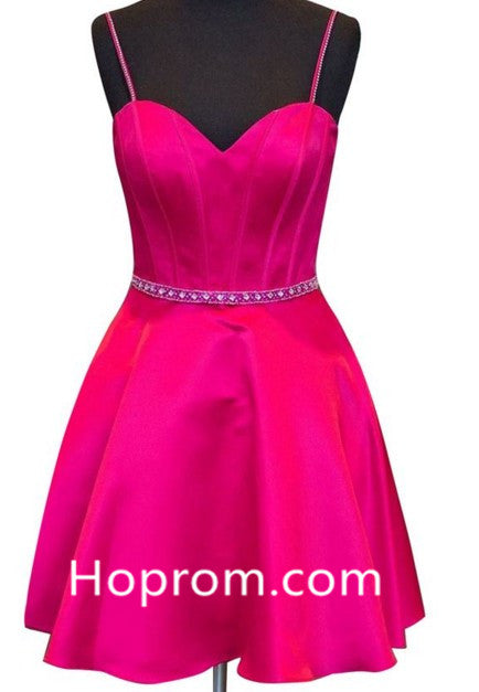 Homecoming Dress with Spaghetti Straps Beading Prom Dress Sweetheart Satin