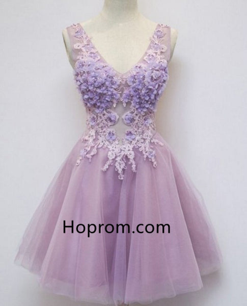 Sleeveless Purple V-Neck Homecoming Dress with Appliques