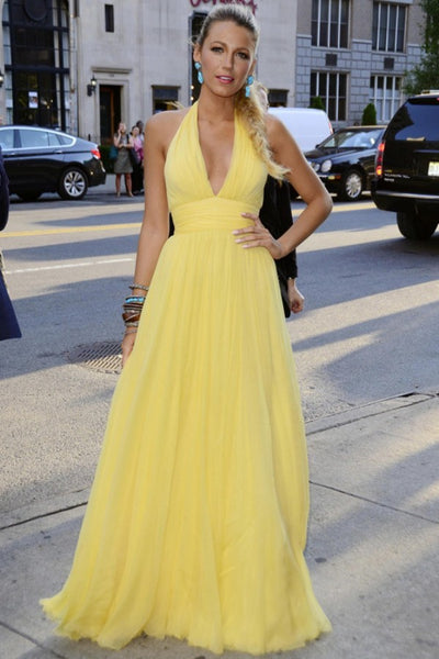 Yellow Blake Lively Halter V Neck Prom Celebrity Dress Savages Premiere