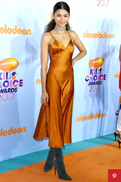 Rust Zendaya Coleman Tea Length Backless Straps Satin Dress V Neck Prom Red Carpet Dress Kids' Choice Awards