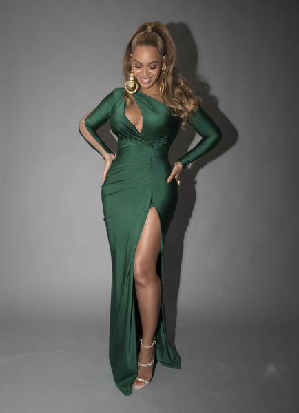 Green Beyonce Knowles Figure-hugging Dress Cutout Prom Celebrity Formal Dress Tidal X Brooklyn Concert
