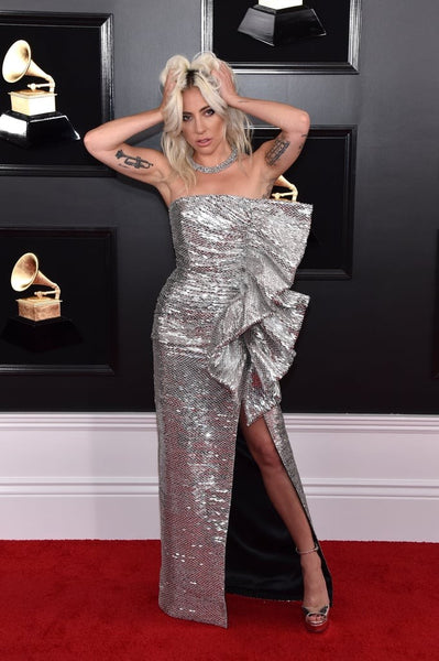Silver Lady Gaga Stunning Sequin Gown Slit Dress Asymmetrical Prom Red Carpet Formal Dress Grammy Awards
