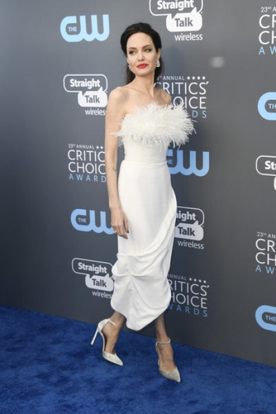 White Angelina Jolie Beautiful Dress High Low Prom Celebrity Red Carpet Formal Dress Critics' Choice Awards