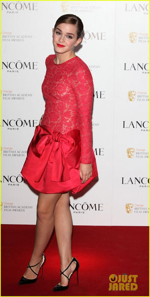 Red Emma Watson Long Sleeve Fit Bowknot Dress Flare Prom Red Carpet Evening Dress pre BAFTA party