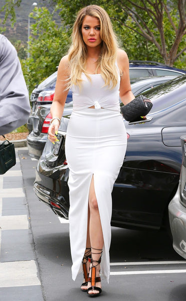 White Khloe Kardashian Two Piece Center Slit Round Neck Knot Dress Long Prom Celebrity Evening Formal Gown Dress Online