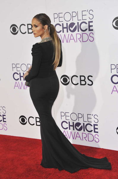 Black Jennifer Lopez (J.Lo) Long Sleeve Sequins Dress Mermaid Prom Celebrity Red Carpet Dress People's Choice Awards