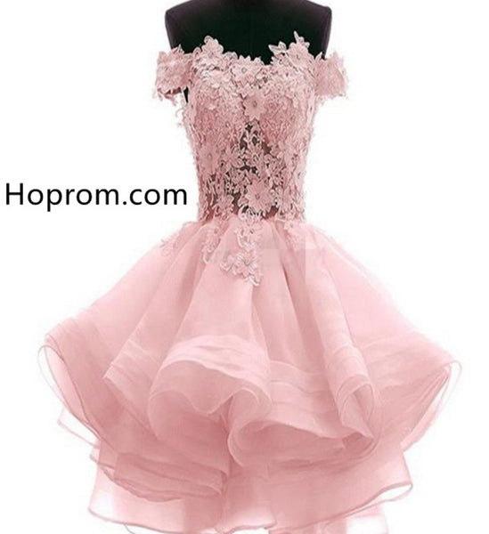 Lace Cute Pink Homecoming Dresses, Sheer Prom Short Dresses