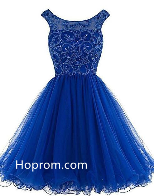 Beading Homecoming Dresses, Royal Blue Backless Short Prom Dresses
