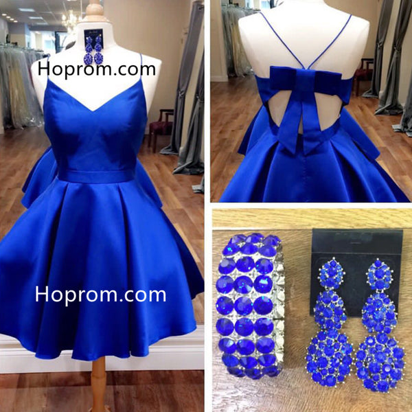Bow Back Royal Blue Homecoming Dress, Cute Short Prom Dresses