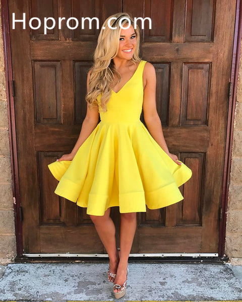 Yellow Homecoming Dress, Deep V-neck Short Cute Party Dresses