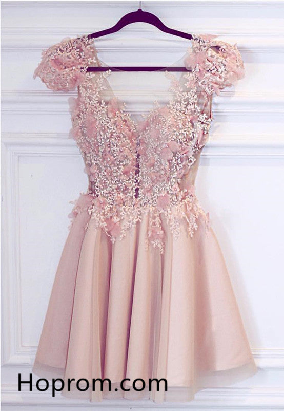 Appliques Homecoming Dress, Cute Pink Short Prom Dress