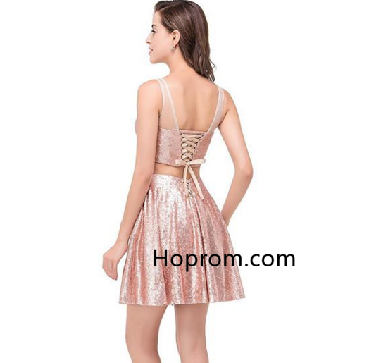Sequined Cocktail Dresses Lace-Up Mini Homecoming Dress