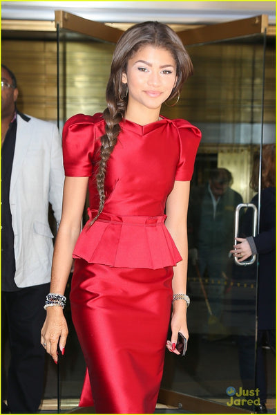 Red Zendaya Coleman Knee Length Cap Sleeve Dress Peplum Satin Prom  Celebrity Evening Dress