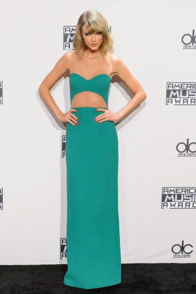 Green Taylor Swift Sheer Cut Out Dress Slit Prom Celebrity Dress AMA