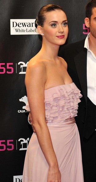 Pink Katy Perry Strapless Ruffled Dress Slit Prom Red Carpet Formal ONDA Awards Online