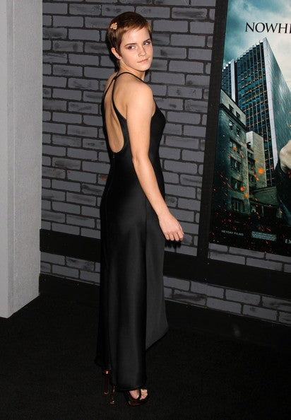 Black Emma Watson Open Back Prom Celebrity Evening Dress Premiere of Harry Potter and the Deathly Hallows