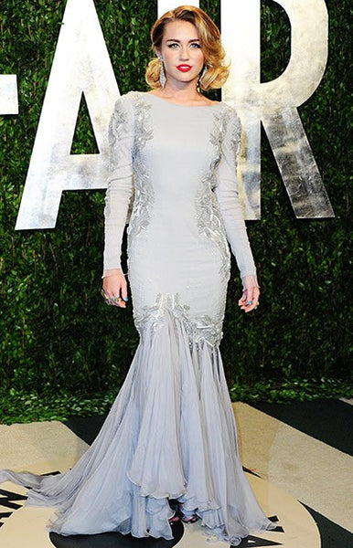 Grey Miley Cyrus Mermaid Long Sleeve Party Dress Sequin Prom Celebrity Formal Dress Vanity Fair Oscar