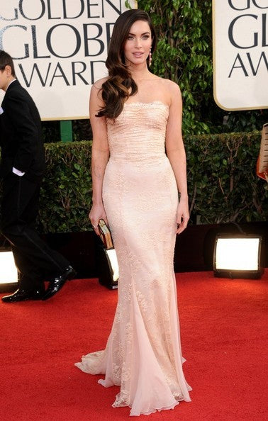 Ivory Megan Fox Mermaid Lace Strapless Dress Bodycon Prom Celebrity Formal Dress Golden Globe Awards Online