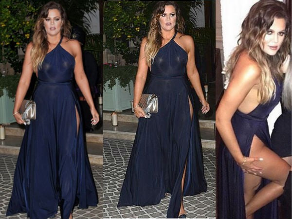 Black Khloe Kardashian One shoulder Dress Two Slits Prom Celebrity Evening Dress to Montana's 30th birthday