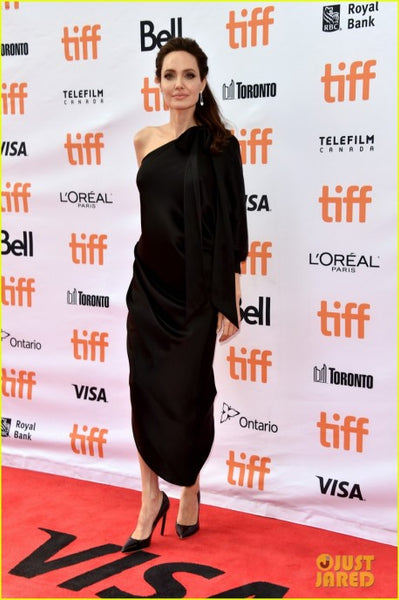 Black Angelina Jolie One Sleeve Red Carpet Celebrity Dress 'First They Killed My Father' TIFF Premiere