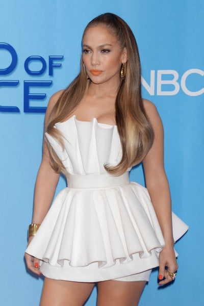 White Jennifer Lopez (J.Lo) Mini Short Dress Empire Waist Prom Celebrity Red Carpet Dress World Of Dance Photocall