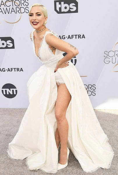 White Lady Gaga V Neck High Slit Dress Pleated Prom Celebrity Evening Dress SAG Awards